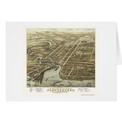 Plattsburgh, mapa panorámico de NY - 1877 Tarjetón