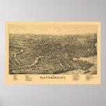 Plattsburgh, mapa panorámico de NY - 1899 Posters