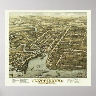 Plattsburgh NY, 1877: Impresión vieja Póster