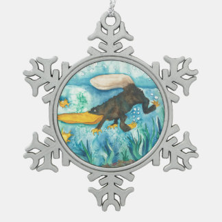 """""""Platty"""" the Platypus by Mike Quinn Snowflake Pewter Christmas Ornament"""