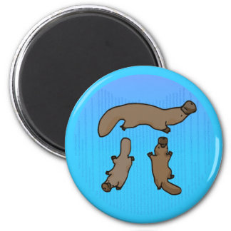 """Platypi"" Three Platypuses Greek Pi 2 Inch Round Magnet"