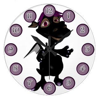 Platypus Black Dino Girl Wall Clock