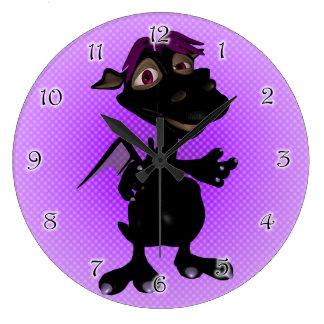 Platypus Black Dino Girl Wall Clocks