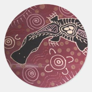 Platypus Dreaming Red by Mundara Koorang Classic Round Sticker