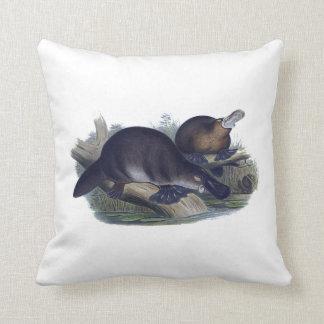 Platypus on a Log Illustration Throw Pillow