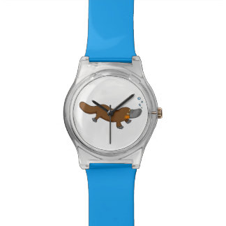 Platypus pato-cargado en cuenta dibujo animado reloj