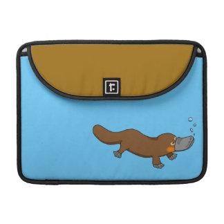 Platypus pato-cargado en cuenta natación linda funda para macbook pro
