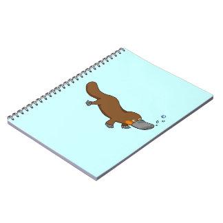 Platypus pato-cargado en cuenta natación linda spiral notebook