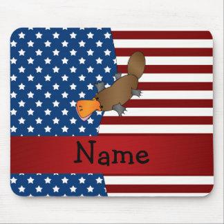 Platypus patriótico conocido personalizado tapetes de raton