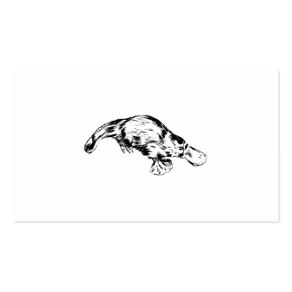 Platypus Realistic Black and White Illustration Business Card