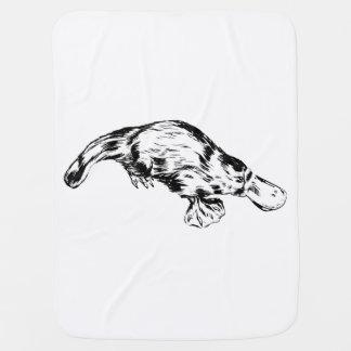 Platypus Realistic Black and White Illustration Stroller Blanket