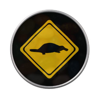 platypus road sign candy tin