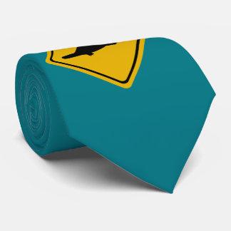 platypus road sign neck tie