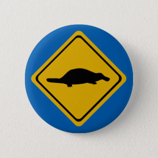 platypus road sign pinback button
