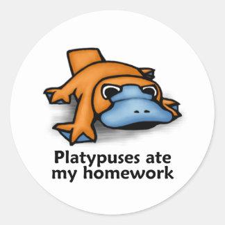 Platypuses ate my Homework Round Sticker