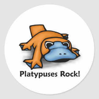 Platypuses Rock! Classic Round Sticker