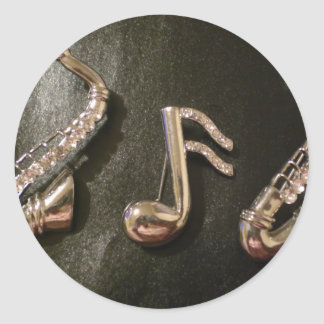 Play a musical note on that Saxaphone Classic Round Sticker