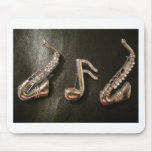 Play a musical note on that Saxaphone Mousepad