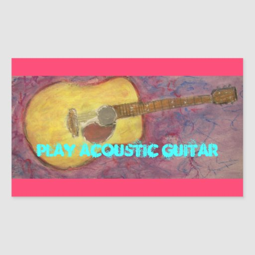 Play Acoustic Guitar Rectangle Stickers