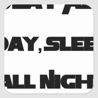 Play All Day, Sleep All Night Square Sticker