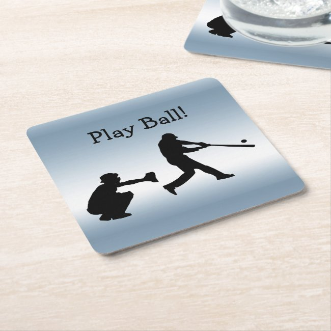 Play Ball Baseball Blue Sports Paper Coasters