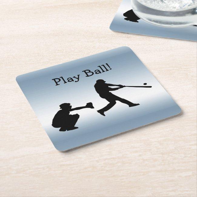 Play Ball Baseball Blue Sports Paper Coasters