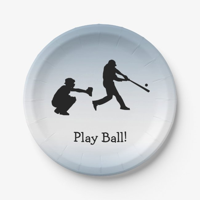 Play Ball Baseball Blue Sports Paper Plate