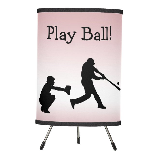Play Ball Baseball Sports Girly Pink Table Lamp