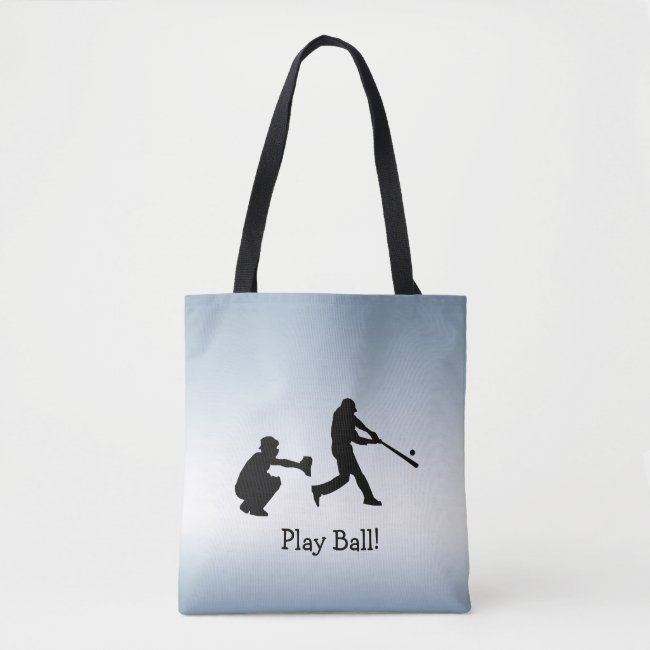 Play Ball Blue Baseball Sports Tote Bag