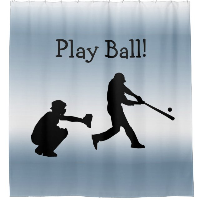 Play Ball Blue Sports Baseball Shower Curtain