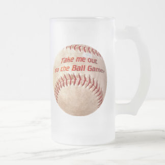 Play Ball Frosted Glass Beer Mug