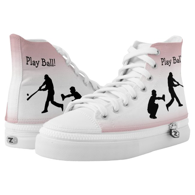 Play Ball Girly Pink Baseball High Tops