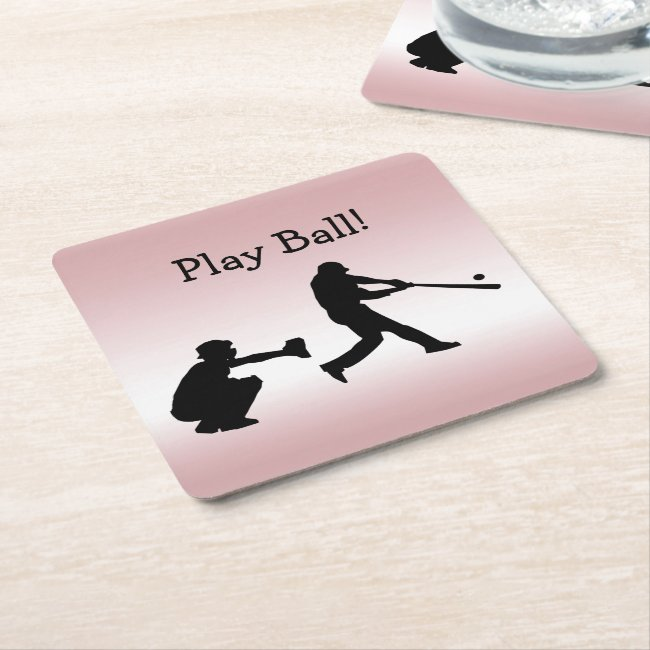 Play Ball Girly Pink Baseball Sports Paper Coaster