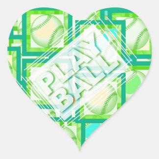 Play Ball. Heart Sticker