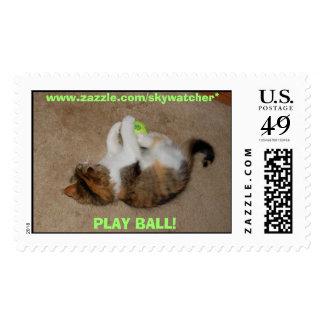 PLAY BALL! Kitten Stamp, www.zazzle.com/skywatcher