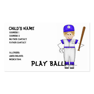 Play Ball! Mommy Cards Double-Sided Standard Business Cards (Pack Of 100)