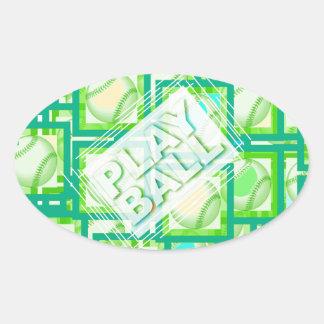 Play Ball. Oval Sticker