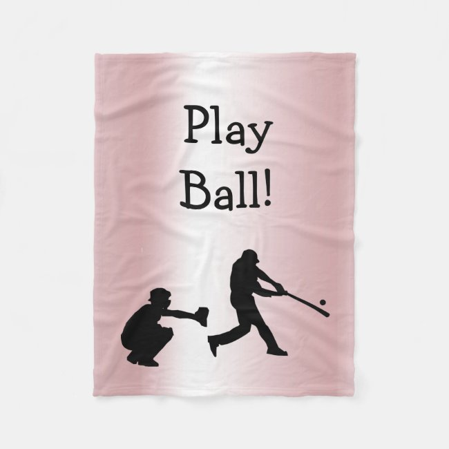 Play Ball Pink Baseball Sports Fleece Blanket