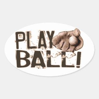 Play Ball Retro Ball Glove Oval Sticker