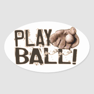 Play Ball Retro Ball Glove Stickers