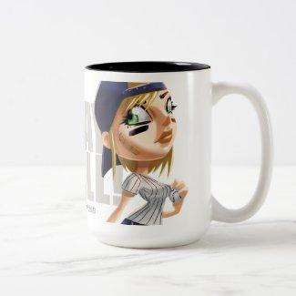 PLay Ball Shortstop PInup Two-Tone Coffee Mug