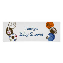 Play Ball Sports Ball Baby Shower Banner Poster