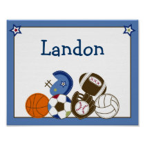 Play Ball Sports Boys Nursery Wall Art Name Print