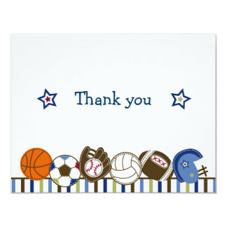 Play Ball Sports Boys Thank You Note Cards