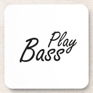 Play bass black text coaster