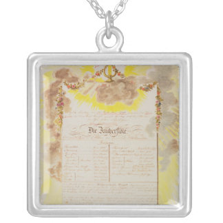 Play-bill for 'The Magic Flute' Square Pendant Necklace