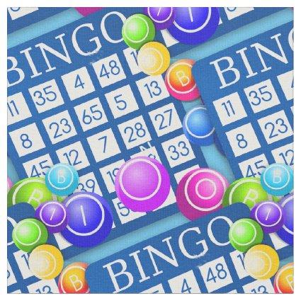 Play Bingo! Pattern Blue Fabric