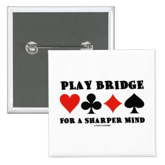 Play Bridge For A Sharper Mind (Duplicate Bridge) 2 Inch Square Button