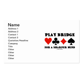 Play Bridge For A Sharper Mind (Four Card Suits) Double-Sided Standard Business Cards (Pack Of 100)