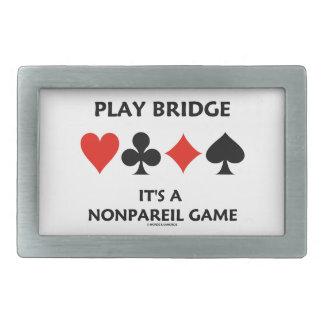 Play Bridge It's A Nonpareil Game Four Card Suits Rectangular Belt Buckle